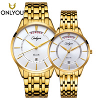 ONLYOU 2PCS Luxury Golden Quartz Watch Casual Watches Women Waterproof Wristwatch Man Military Clock date Shown Lovers Watch hot