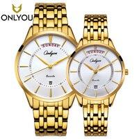 Onlyou 2 шт. роскошный золотой кварцевые часы Повседневное Часы Для женщин Водонепроницаемый Наручные часы Человек Военная Униформа Часы даты,