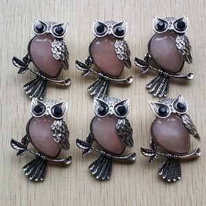 Image 4 - Fashion Vintage copper Plated Owl cute natural tiger eye stone onyx opal pendants for jewelry making wholesale 12pcs/lot free