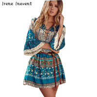 Irene Inevent 2017 Bohemian Summer Women Dress Sexy Sundresses Deep V Ethnic Floral Print Tunic Beach