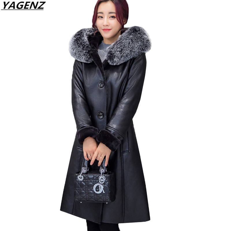 Winter Coat Female   Leather   Jacket New Fashion Hooded Fur Collar Women Coat Plus Size 7XL Thick Warm High-quality   Leather   Women