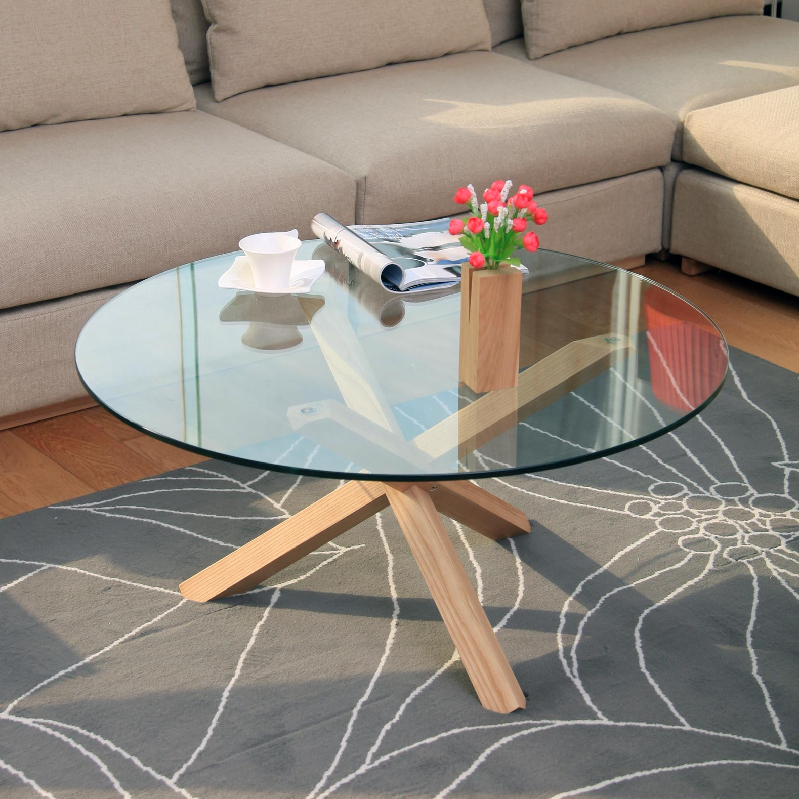 Furniture minimalist living room coffee table small side - Round glass tables for living room ...