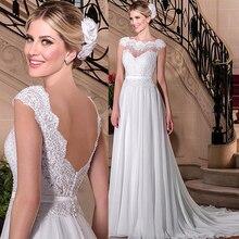 Wdzięku szyfonu Bateau dekolt line suknie ślubne z koronki z kryształkami aplikacje i pas suknia ślubna vestido festa