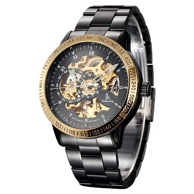 IK Colouring Fashion Male Clock Mechanical Skeleton Watch Stainless Steel Automatic Wristwatch Relogio Masculino new ik gold skeleton lxuury watch men silver steel automatic mechanical watches mens fashion business dress wristwatch relogio