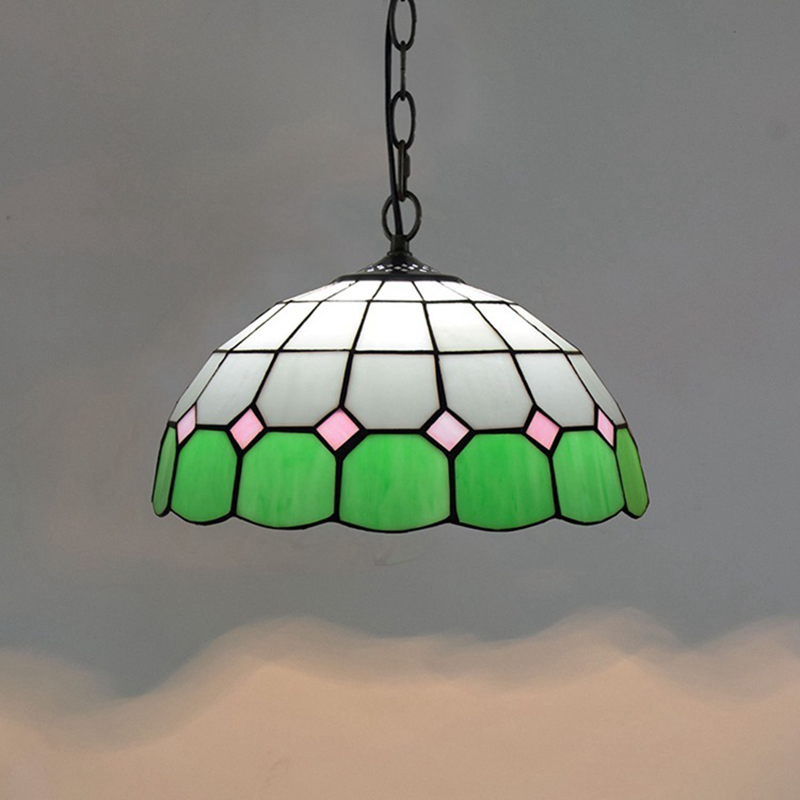 Tiffany blue green white glass shade dome pendant lamp colorful small pretty pendant lights art deco cut glass hanging lights glass deco glass deco s g6