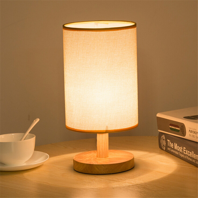 Minimalist Modern Table Lampshade with Solid Wood and Fabric Cylinder Shade Decorative f ...