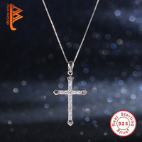 Belawang Classic 100 925 Sterling Silver CUBIC ZIRCONIA Cross Necklaces Pendant Silver Chain Necklace For Women