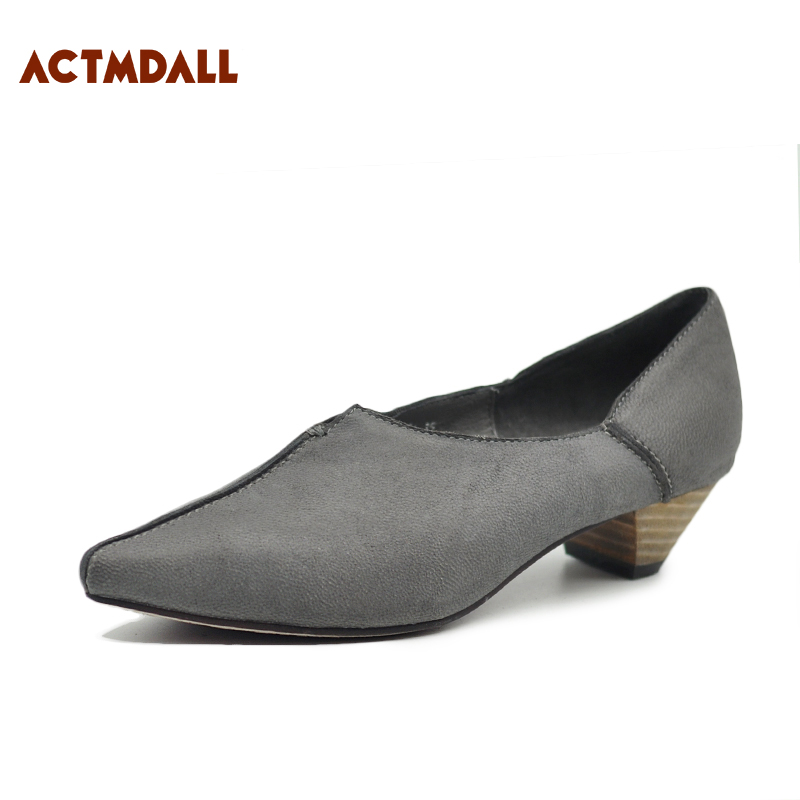 Véritable Pompes Automne Femme Femmes Noir Chaussures Main Printemps Vintage À Talon grey En Cuir Pointu Original La Black Gris Faible ZqPSPI