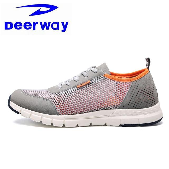 f15b61ff9d Deerway Tênis Cinza Para Os Homens A Luz Corredor Trainer Amortecimento  Tênis Respirável Esportes Masculino Sapatos