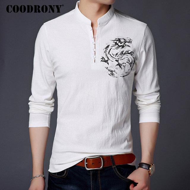 COODRONY Chinesischen Stil Stehkragen T Shirt Männer Langarm Baumwolle T Shirt Männer Kleidung 2018 Leinen T Hemd Homme T shirt t006