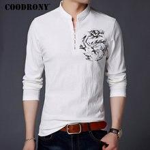 COODRONY chiński styl stójka T Shirt mężczyźni z długim rękawem bawełna T koszula mężczyzna ubrania 2018 lniana koszulka Homme Tshirt T006