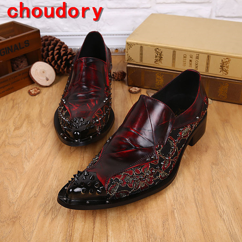 Choudory Vintage punk style red black spiked loafers italian mens dress shoes genuine leather slip on formal shoes men size47 choudory new winter men ankle italian shoes men leather shoes pointed toe mens black dress shoes sequined toe spiked loafers men