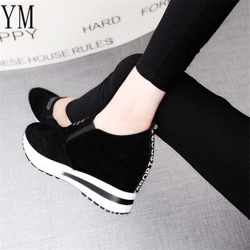 2018 Flock New High Heel Lady Casual black/Red Women Sneakers Leisure Platform Shoes Breathable Height Increasing Shoes 1