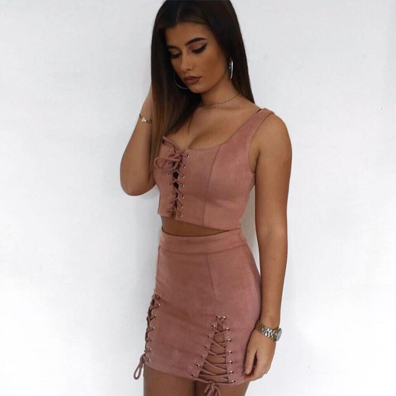 Suede Two Piece Set Sleeveless Crop Top And High Waist Mini Skirt 5