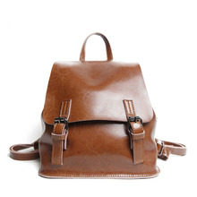 2017Genuine leather Solid Women Backpacks Preppy Style College package Simple Casual All-match Travelling bag