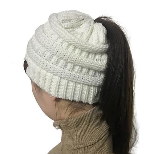 be2e7a1ff67 Produs - BONJEAN women warm hat CC Warm winter knitted Chunky Soft Slouchy  Beanie High bun Ponytail Stretchy hat gorro feminino