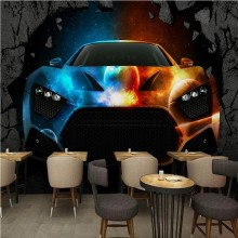 Free Shipping 3D stereo wallpaper Bar KTV cool car broken wall custom wallpaper lobby office living room mural