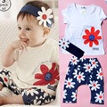 New infant girls short-sleeved white flowers three-piece suit foreign trade
