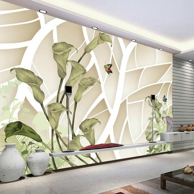 Custom 3d Wall Paper Wallpaper For Walls 3d Green Calla Leaf Butterfly Wallpaper  Murals Bedroom Home Improvement Decoration