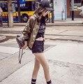 Mujer Chaquetas 2016 Nueva Moda de Otoño Salvaje Letras Impresas Escudo Tamaño Chaqueta Corta Delgada Mujeres Básica Abrigos Jaqueta Feminina