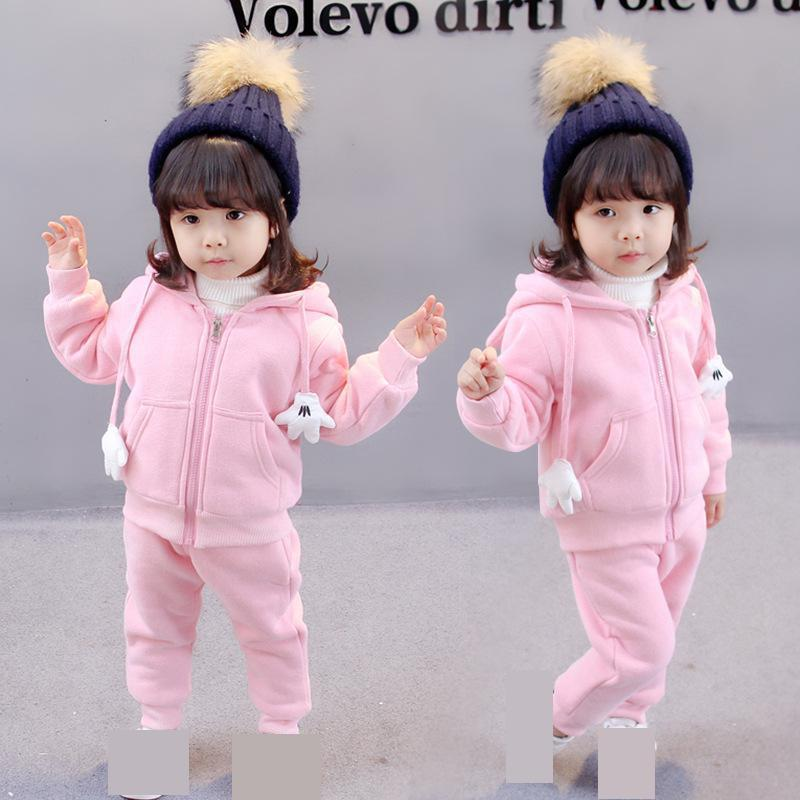 Baby Girls Clothes 2pcs Sets Winter Warm Pink Yellow Solid Coat Full Sleeves Long Pants Children Clothing Kids Girl Suits 5cs213 new 2017 winter warm children clothing set kids baby girl boy suit warm sets toddler hoodied coat vest long sleeves pant 3pcs