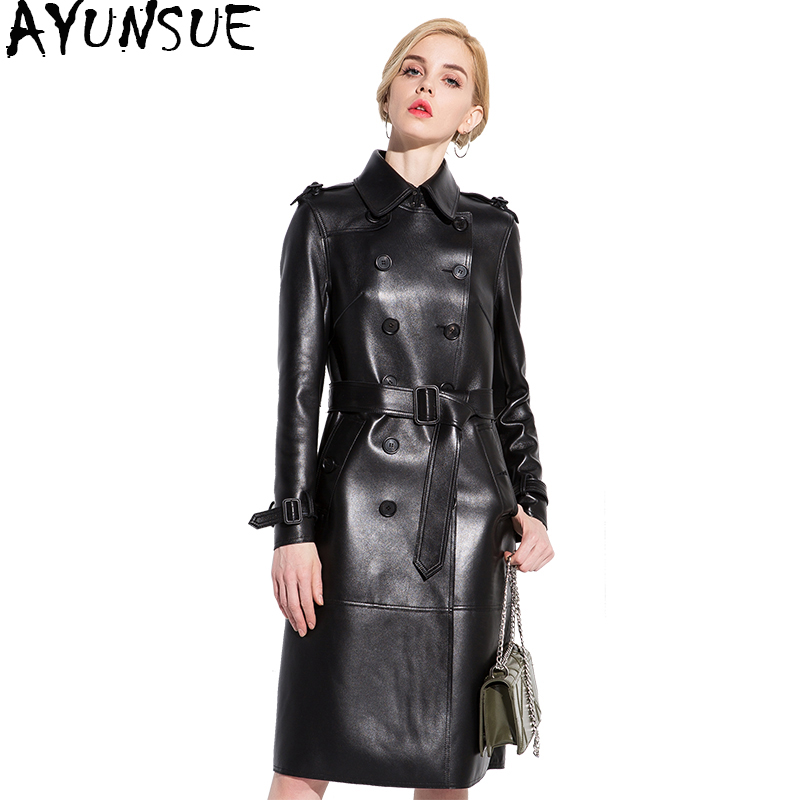 Ayunsue модные из натуральной кожи куртка Для женщин натуральной овчины пальто с поясом осень-зима длинный плащ пальто 2018 YQ1406