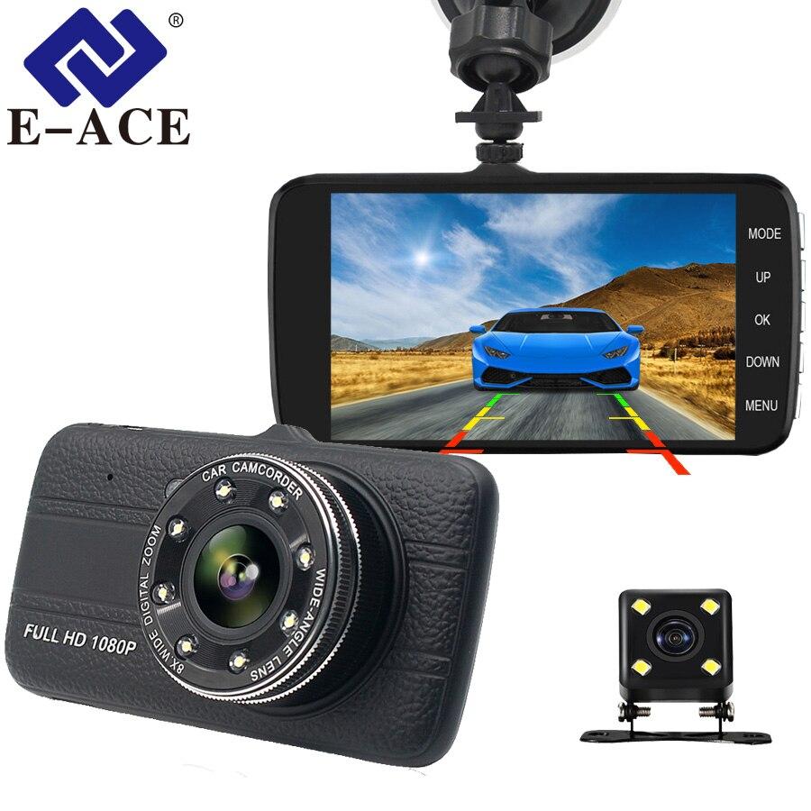 E-ACE coche Dvr 4,0 pulgadas Dash cámara con cámara de visión trasera Full HD 1080 P lente Dual grabadora de Video Auto los registradores de vehículo Dashcam