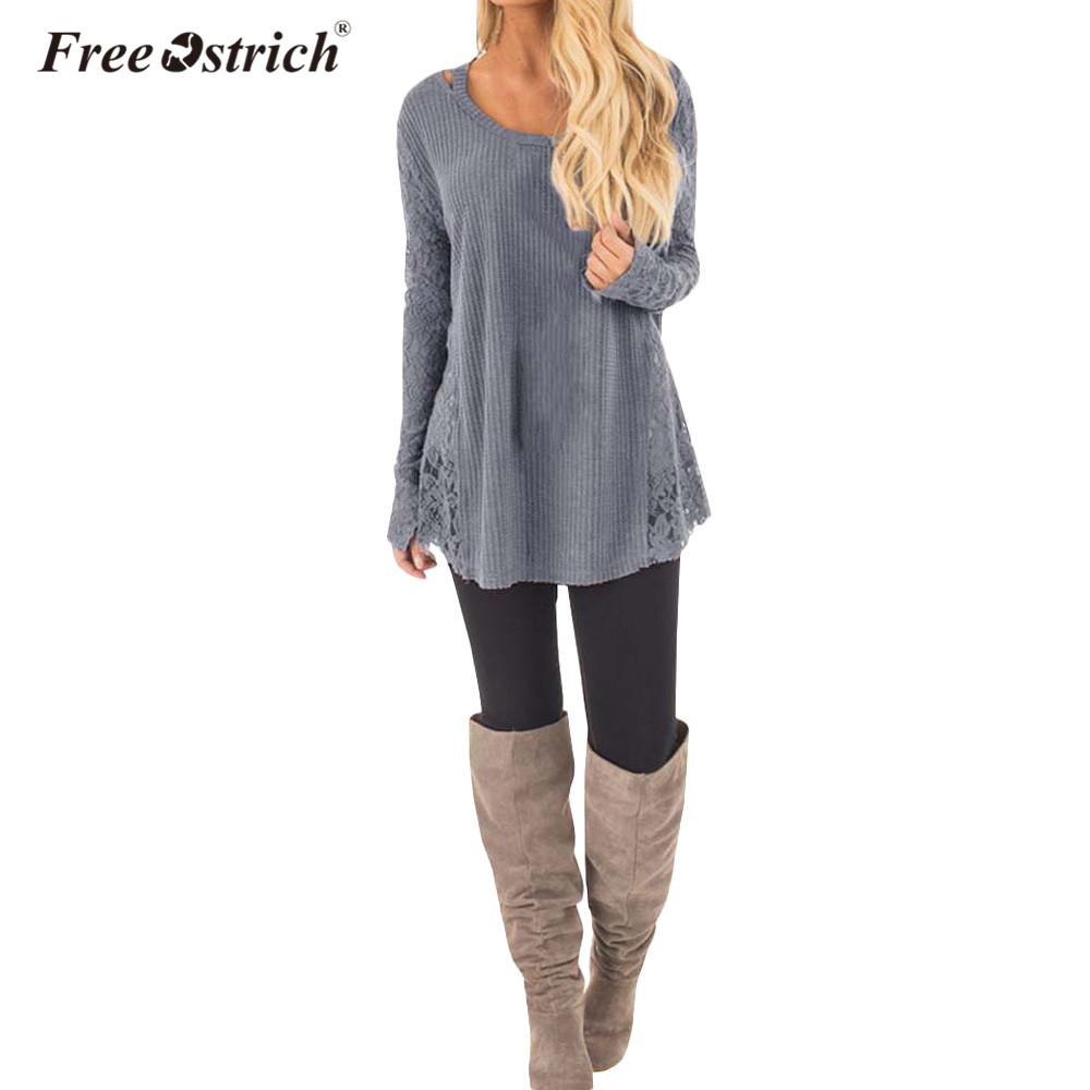 Free Ostrich Autumn And Winter Solid Lace Stitching Long Sleeves Round Neck Shirt D30