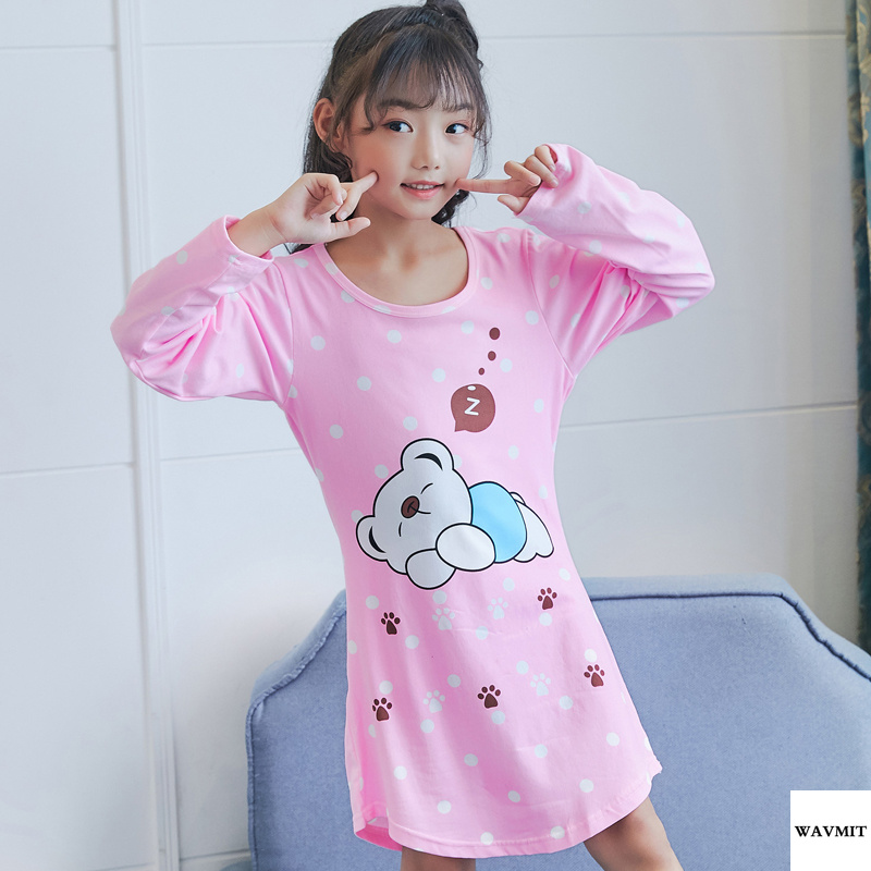 цена на New Listing 2018 New Spring Autumn Children's Long-sleeved Thin Cotton Nightgown Girls Cartoon Children's Pajamas Baby Sleepwear