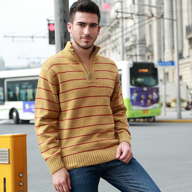 Winter Men's Sweaters Warm Thicken Striped Sweaters For Man Zipper Pullovers Stand Collar Casual Knitwear Sweater  Size 3XL 3163