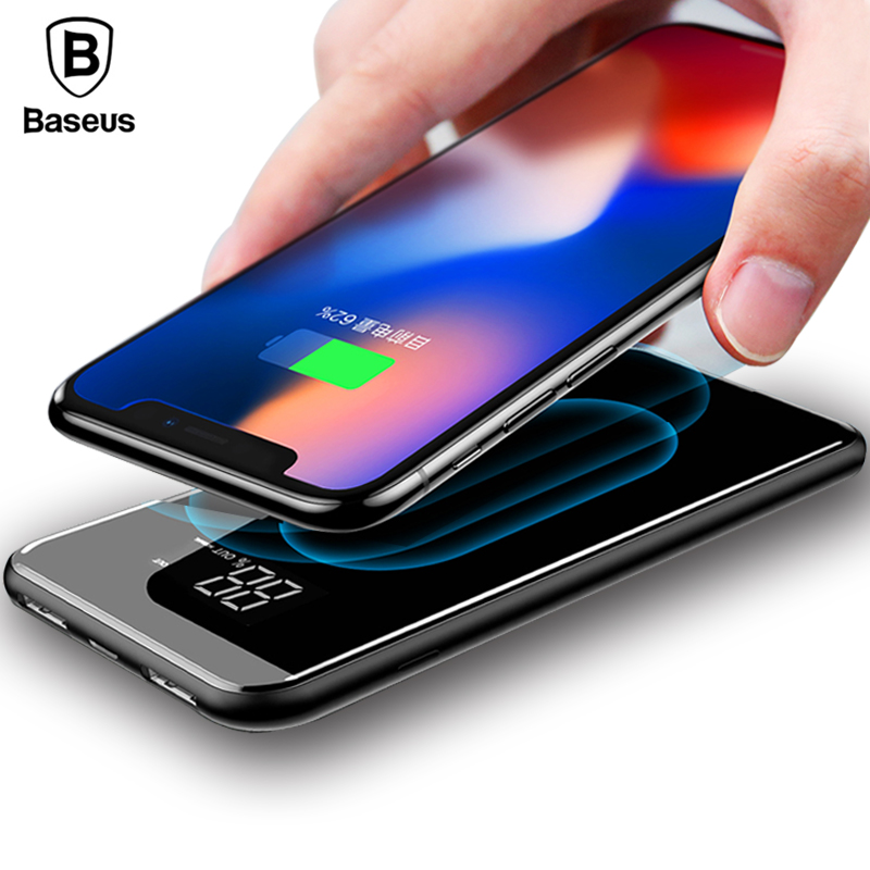 Baseus 8000mAh QI Wireless Charger 2A Dual USB Power Bank For iPhone X 8 LCD font