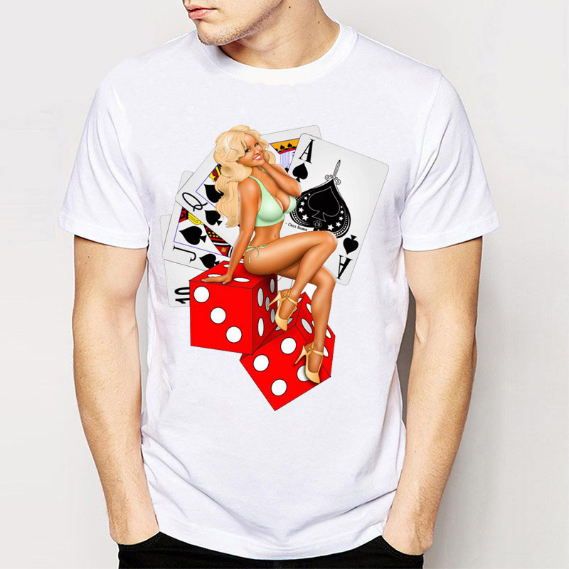 2016 Newet MenS Short Sleeve Lucky Lady Gambler Printing Tee Shirts Boy Tees Novelty Poker Design Two Sexy Girl Tee Casual Tops