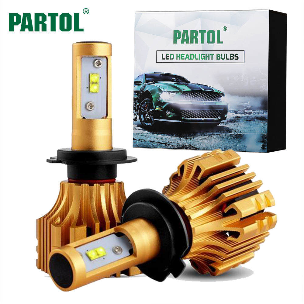 Partol S6 H4 H7 H11 9005 9006 H13 Car LED Headlight Bulbs 70W 7000LM Automobile Headlamp Front Lights 6500K 12V 24V