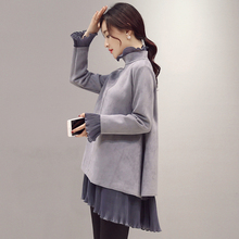 AfeiTony maternity clothing autumn and winter top maternity clothes loose one-piece dress maternity dress basic shirt