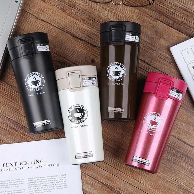 Frasco de vacío de acero inoxidable de doble pared de alta calidad de 380ml taza térmica de coche taza de café té de viaje botella de termo