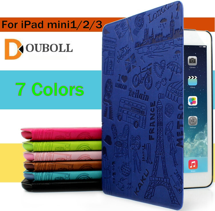 New Fashion Original For Apple iPad mini Case Pu Leather Cute Cover Case for New iPad mini 1 2 3 Lovely Paris style+film case cover for goclever quantum 1010 lite 10 1 inch universal pu leather for new ipad 9 7 2017 cases center film pen kf492a