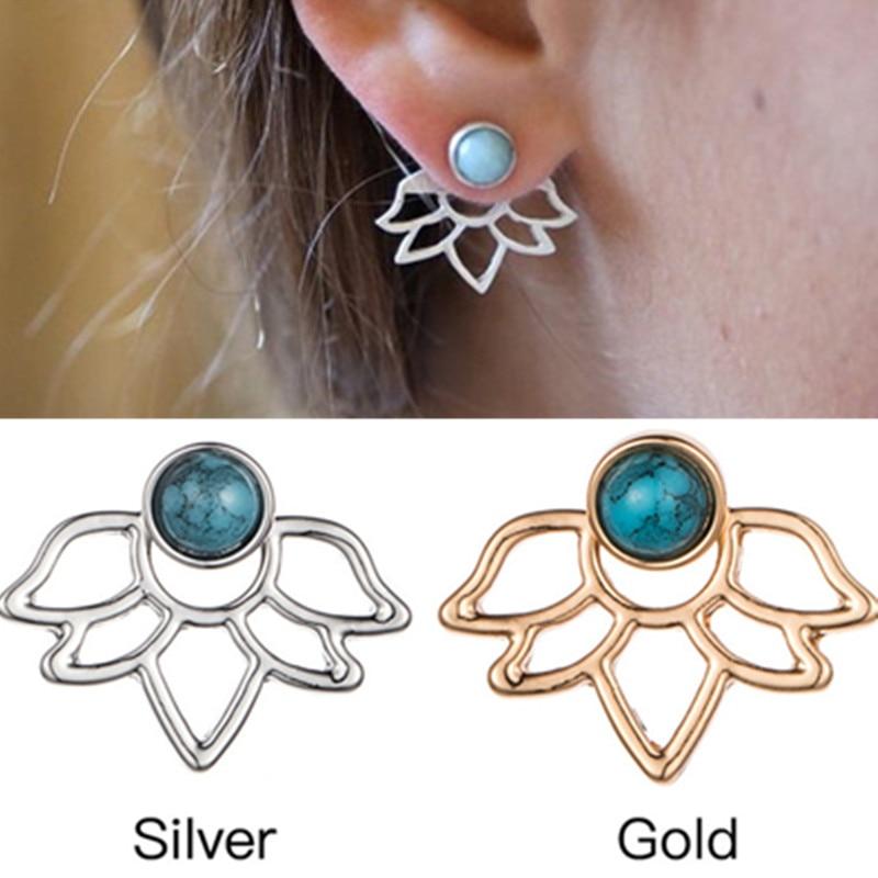 ES506 Stud Earrings for Women Hollow Lotus Flower Back Hanging Earring Fashion Ear Jewelry Brincos 2018 pendientes oorbellen NEW