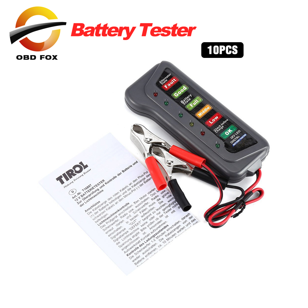 Car Digital Battery Tester Auto Alternator Tester with 6 LED Lights Display Car Styling Battery Diagnostic