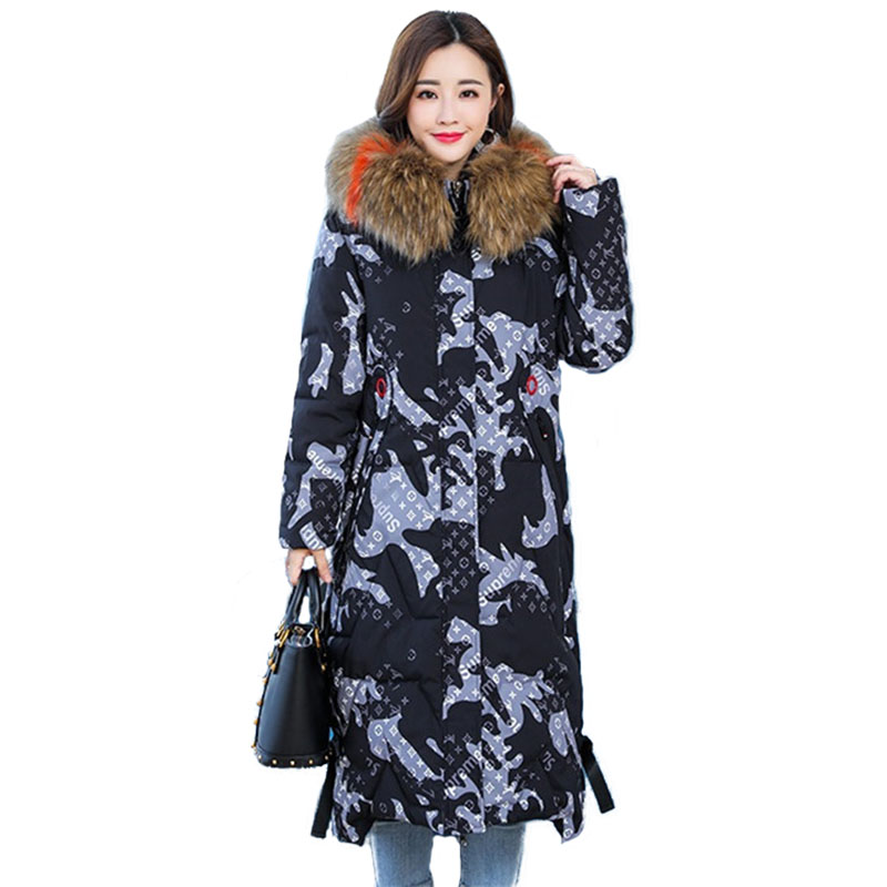 New Plus size 5XL Winter   parkas   women Camouflage cotton jacket Fur collar Hooded coat female Thicken jackets 100KG can wear H566