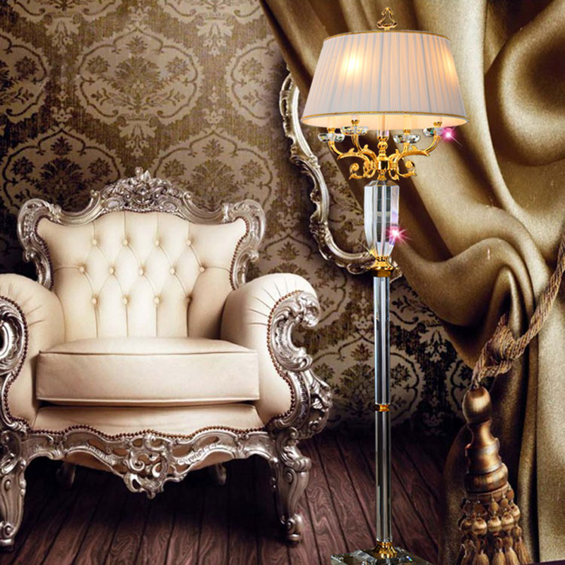 Fabric Shade Lights Luxury Crystal European Floor Lamp Led Standing Lighting Fitting Quality Fashion Living Room Decoration