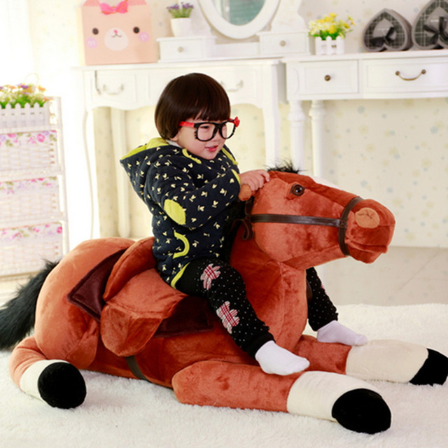 Fancytrader Giant Stuffed Plush Horse Toys Big Soft Emulational Lying Horse Doll 130cm 51inch Nice Gifts for Children