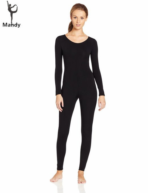 f181b1549 Plus Size Scoop Neck Full Body Spandex Dance Unitard Bodysuit Costumes  Workout Gymnastics Long Sleeve Black Unitard For Women