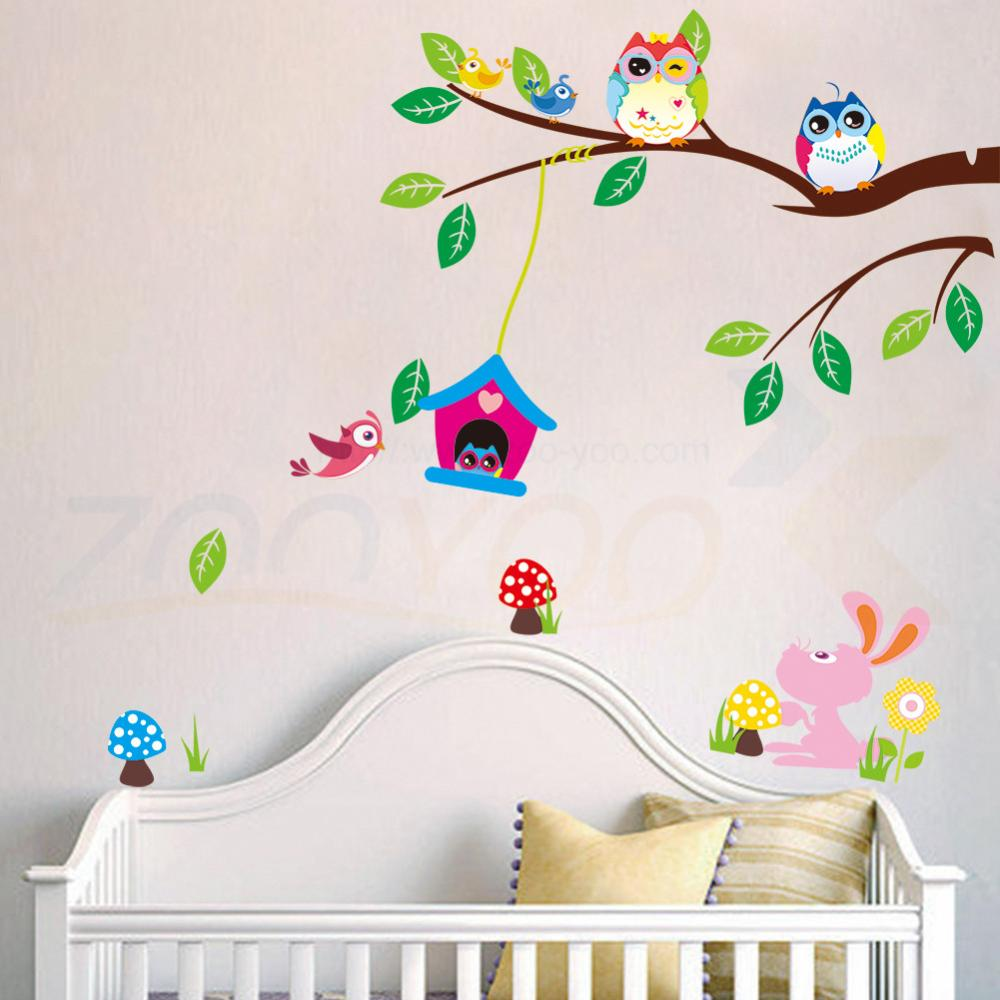 popular stickers on wallpaper buy cheap stickers on wallpaper lots cute owls playing on trees wall stickers home decoration for kids rooms removable pvc wall