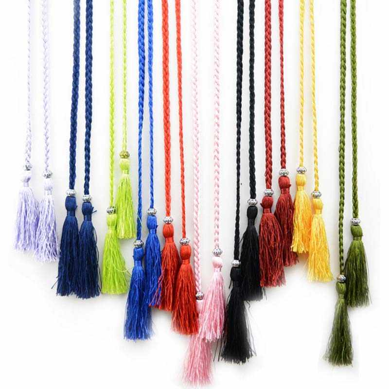 Gorąca sprzedaż tkane tassel pas panie pas koreańska wersja łuk krawat liny sukienka węzeł zdobione talia łańcuch talii liny F0069