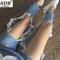 2016 Nuevo Ripped Jeans Mujeres Ocasionales Lavados Flojos Grandes Agujeros Boyfriend Jeans Para Mujeres Pantalones Vaqueros Rasgados Denim Salvaje Larga Regular pantalones