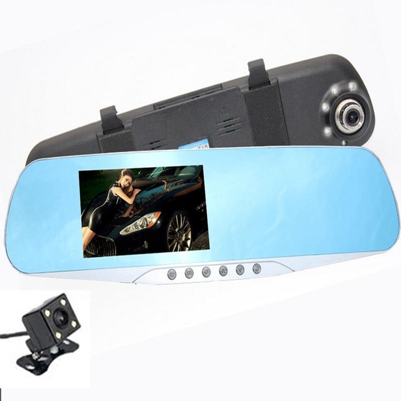 Car DVR Camera Mirror 4.3 Dual lens Camera Blue Review Mirror Digital Video Recorder Auto Registrator DVR 150 degree lens