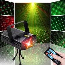 O flash automático conduziu luzes do palco ativado por som conduziu luzes do laser do projetor com controle remoto para o aniversário em casa dj festa de discoteca mostrar