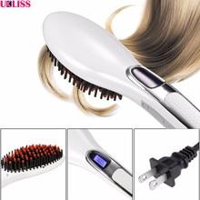 Promo offer New Lcd Brush Hair Straightener Electric Comb Hot Sale Hairbrush Irons Ceramic Fast Flat Iron Styling hair straightener brand