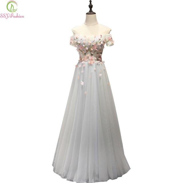 SSYFashion 2017 New Sweet Lace Flower Evening Dress Boat Neck Floor-length  Long Formal Dresses Bride Banquet Elegant Party Gown ec84a08577d6