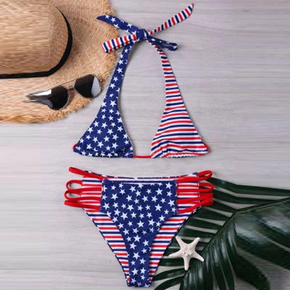 2018 Sexy Women Bikini American Print Flag Bikini Swimsuit tankini bikini Beachwear Swimwear Biquini Bathingsuit brazilian